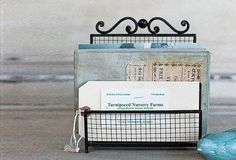 Charming Organizer & Mail Holder - From Antiquefarmhouse.com - http://www.antiquefarmhouse.com/current-sale-events/metal12/metal-holder.html