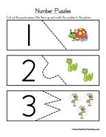 Here's a series of simple number puzzles to help students practice counting from 1-12.
