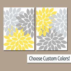 ★YELLOW GRAY WALL Art Canvas or Prints Bathroom Artwork Bedroom Pictures Yellow Nursery Floral Dahlia Flower Burst Petals Set of 2 Home Decor