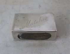 """SILVERPLATE MATCH BOX Holder """"Matches"""" English Maker's Hallmarks Pocket Size Silver Match Box England 1920's Free Shipping! by OnceUpnTym on Etsy"""