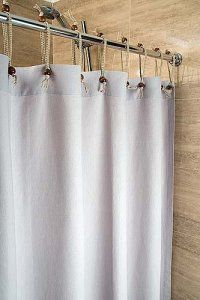 Hemp Shower Curtain Ice Grey 180cm Width X 160cm Drop Curtains