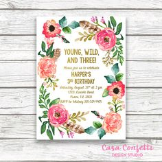 Young Wild and Three Girl Birthday Invitation by CasaConfetti
