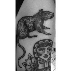 Little rat #tattoo #ink #linework #blackwork #rat #etching #annatwiggy…