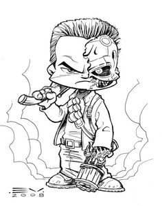 Terminator #2 Cartoon Sketches, Cartoon Styles, Cartoon Art, Art Sketches, Badass Drawings, Dark Art Drawings, Cute Drawings, Cartoon Character Tattoos, Character Drawing