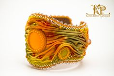 OOAK #Shibori Silk Embroidered Bracelet Autumn by KatrinPodra