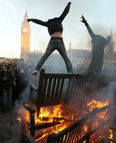 Protesters went on a rampage in London leaving the city scarred by wreckage. (AP)