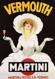 Vintage Martini Print Shower Curtain