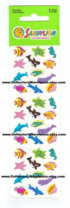 Sandylion Micro Sea Life Sticker Strip MOC prismatic NIP seahorse orca killer whale turtle dolphin sperm whale starfish tropical fish by CollectorsWarehouse on Etsy