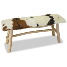 Lavička z pravé kůže a teakového dřeva