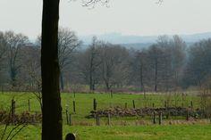 Uitzicht op Bentheim vanaf de Hanhofweg bij 't Keampke. In de verte de contouren van Burcht Bentheim