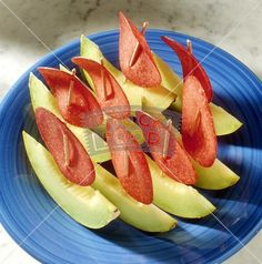 Nautical Food: Melon Boats made out of honeydew and salami slices.