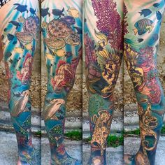 Underwater leg sleeve by Chad Whitson-Bearcat Tattoo Gallery-Little Italy-San Diego, CA