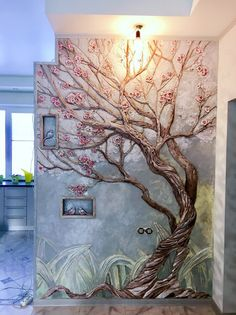 To paint the wall mural for the book tree 5 Stupefying Unique Ideas: It Is What It Is Wall Decor wall decor for dining room area.Wall Decor Around Big Screen Tv italian kitchen wall decor. Mural Painting, Mural Art, Wall Murals, Plaster Art, Plaster Walls, Tree Art, 3d Tree, Diy Wall Art, Wall Sculptures