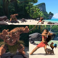 An early piece to see what the characters would look like in the environment. Maui didn't have hair, and I'm glad they changed that.