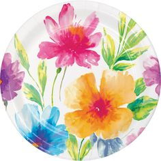 The Party Aisle Your dinner plate resembles an artistic canvas with this beautiful Floral Paper Disposable Dessert Plate. The sturdy paper plates and feature a full print of different and vibrant watercolor flowers set against a white background.
