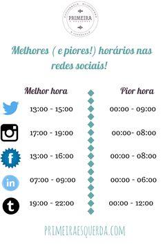 Horários redes sociais