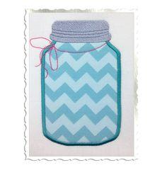 $2.95Applique Mason Fruit Jar Machine Embroidery Design