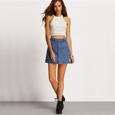 Vintage High Waist Denim Mini Skirt