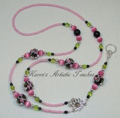 Breast Cancer Awareness Flower Black Pink Green Beaded Lanyard ID Holder Diy Jewelry, Beaded Jewelry, Handmade Jewelry, Beaded Necklace, Jewelry Design, Jewelry Making, Necklaces, Lanyard Id Holder, Lanyard Necklace