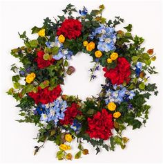 Blue and Red Hydrangea Wreath