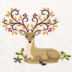 Free Embroidery Design:  Autumn Elegance Deer