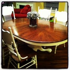 Refinished table and chairs: Sand, Stain Top, Paint base and chairs.