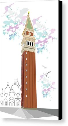 Tower Of Campanile In Venice Canvas Print by Marina Usmanskaya for homedecor.  All canvas prints are professionally printed, assembled, and shipped within 3 - 4 business days and delivered ready-to-hang on your wall. Choose from multiple print sizes, border colors, and canvas materials. Travel in Italy. Campanile-Bell Tower (from the church bell), which does not depend on the church building and is not integrated into it.