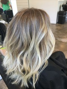 •Blonde balayage highlights with a shadowed root• By @HairbyBrittni