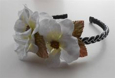 Black White Headband, Velvet Flowers Headpiece Weddings Vintage Style Flower Girl Headbands Tiaras by NeedleCraftNook on Etsy