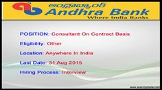 Andhra Bank Contract Jobs for consultant in Anywhere in India Last Date 31 Aug 2015