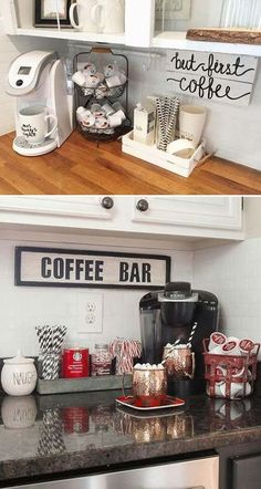 Indicate a small coffee bar by a wall quote made from reclaimed wood. #beautysalon