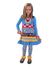 Another great find on #zulily! Blue & Yellow Polly Folk Art Dress & Leggings - Toddler & Girls by Jelly the Pug #zulilyfinds
