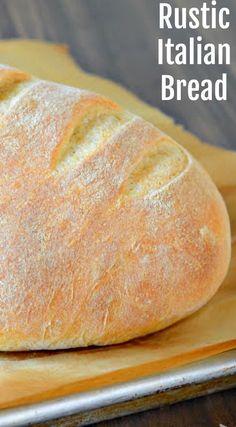 Crusty Italian Bread Recipe, Rustic Italian Bread, Italian Bread Recipes, Rustic Bread, Easy Bread Recipes, Banana Bread Recipes, Cooking Recipes, Healthy Recipes, Bread Machine Recipes