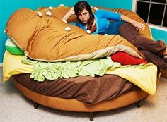 A weird and wonderful hamburger bed!  Must have.