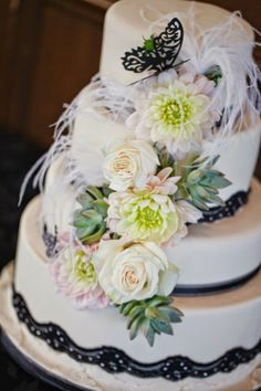 Black and White Butterfly Themed Wedding cake with lace accents ~Stef & Stef Photographie | bellethemagazine.com