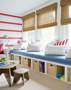 window seat with storage cubbies/baskets in playroom