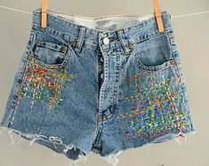 hand made Vintage jeans,reworked levis,patched jeans by MyQueensWish Levi Shorts, Jean Overalls, Vintage Levis, Patched Jeans, Denim, Models, Hippie Bohemian, Stand By Me, Thrifting