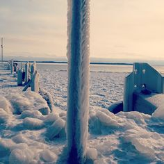 Icy view of Lake Erie from the Miller Ferry Lime Kiln Dock at Put-in-Bay, Ohio in Winter 2013. Photo via Miller Boat Line Instagram.