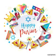 Happy purim greeting card translation from hebrew happy purim vector happy purim jewish holiday greeting card traditional purim symbols purim gifts noisemaker m4hsunfo