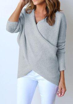 Grey Irregular V-neck Long Sleeve Fashion Cotton Pullover Sweater