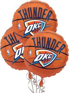 Oklahoma City Thunder Balloons 18in 3ct - Sports Balloons - Balloons - Categories - Party City