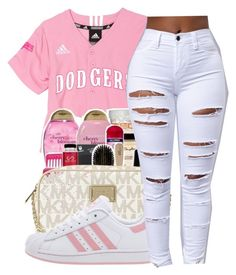 """""""Any time any place✨"""" by maiyaxbabyyy ❤ liked on Polyvore featuring Michael Kors and adidas"""