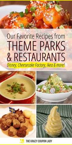 Stuck at home and looking for amazing recipes from your favorite theme parks and restaurants? The Krazy Coupon Lady has you covered- from Disney to Cheesecake Factory, Ikea Sausage And Egg Mcmuffin, Dole Whip Recipe, Cheesecake Factory Recipes, Food Park, Easy No Bake Desserts, Us Foods, Healthy Foods, Restaurant Recipes, Copycat Recipes