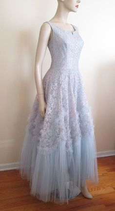 Formal Gown Vintage 1950s Powder Blue Lace Tulle Special Occasion Prom  $150 http://www.rubylane.com/item/676693-CLO24/Formal-Gown-Vintage-1950s-Powder-Blue