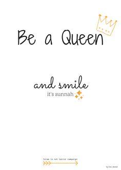 Be a Queen and smile it's sunnah - fond d'écran Hadith du Prophète alayhi salat wa salam dans l'article Hadith, Ramadan, Les Religions, Quran Quotes, Islamic Pictures, Queen, Smile, Motivation, Muslim
