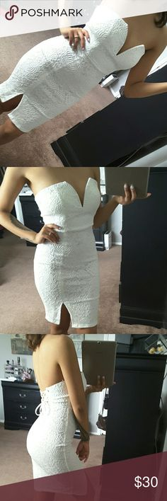 White lace up dress Brand new!!!!!  Laces in the back for a tighter fit Dresses Mini