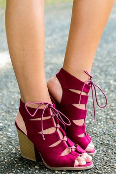 """As if he wasn't already certain, he'll claim that you really are the Perfect Girl when he sees how stunning you'll look in these lovely Burgundy Lace-Up Heels. These will just reaffirm his belief. These heels feature a peep toe, a lace-up strappy vamp, a cutout heel, and a stacked heel. • Heel measures 3.5"""" • Padded Insole • Non-Skid Sole • Vegan friendly, man made materials • Imported"""