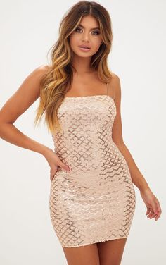 Rose Gold Strappy Sequin Straight Neck Bodycon Dress Girl look sexy in sequins with this smokin' . Designer Party Dresses, Party Dresses Online, Party Dresses For Women, Tight Dresses, Club Dresses, Sexy Dresses, Short Dresses, Mini Dresses, Rose Gold Dresses Short