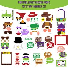 ♥ This set of Photobooth props has 24 pages and includes:  2 Cowboy Hats  1 Buzz  1 Boot  1 Sheriff Badge  1 Bandanna  2 Potato Head Sets  1 Potato Head Ears Headband  2 Bowler Hats  1 Alien  1 THE CLAW Word  1 Zurg  1 Dog Set  1 Dinosaur Face  1 Horse Set  1 Pig Nose  3 Army Men  1 Etch A Sketch  1 Wanted Poster  6 Glasses  5 Lips  5 Mustaches  13 Speech Bubble Signs  1 Table Sign  and instructions