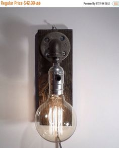 BLACK FRIDAY SALE 30% off Weathered sconce light lamp-Unique wall light lamp-Steampunk wall light lamp-Edison bulb sconce-Bedside wall lamp-